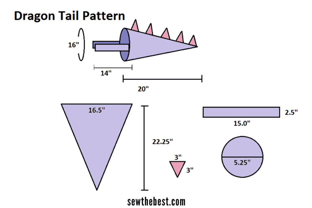 how to make a dragon tail - toy sewing pattern